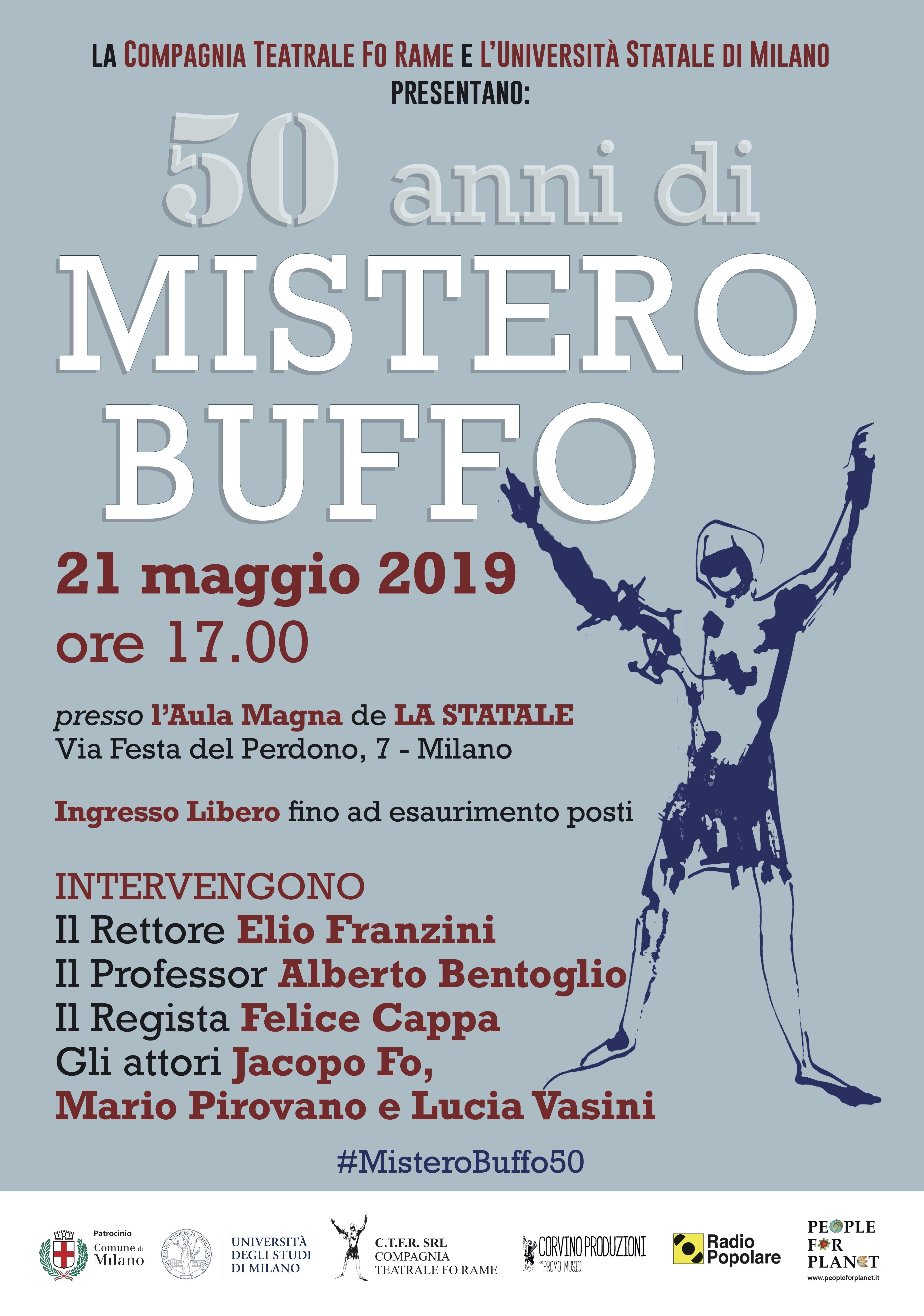 50 Anni di Mistero Buffo: grande evento alla Statale di Milano il 21 Maggio 2019